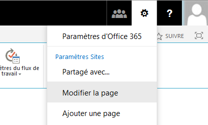 Modification d'une page SharePoint