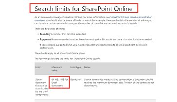 SharePoint Online / Office 365 search engine can't index Excel files bigger than 3 MB !!!